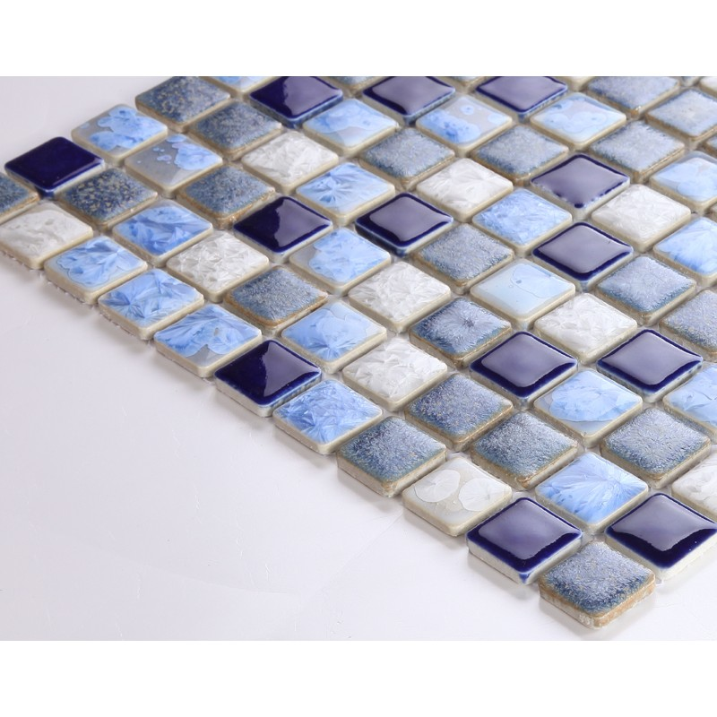 Blue Porcelain Square Mosaic Tiles Design Glazed Ceramic