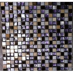 Purple Glass Mosaic And Stone Tile Kitchen Backsplash White Mother Of Pearl For Walls