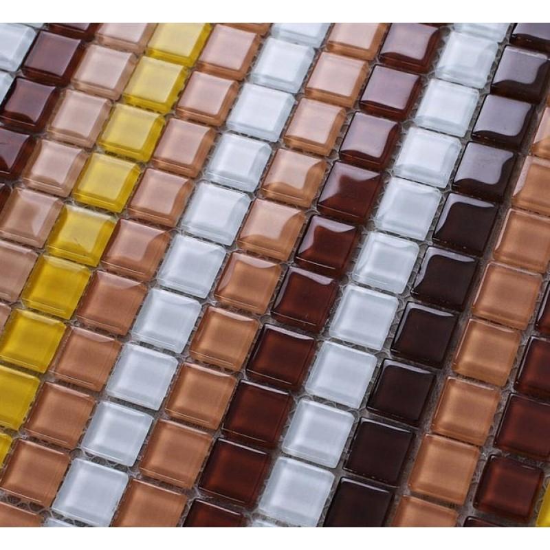 Glass Mosaic Wall Tiles Puzzle Mosaic Art Brown & Yello