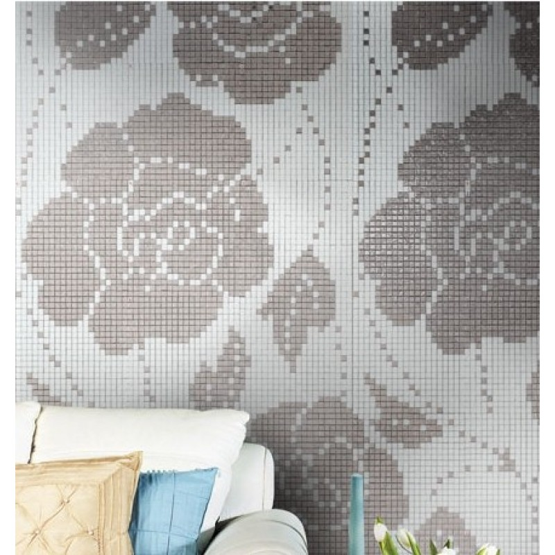 Sample Beige Cream Hand Painted Glass Pattern Mosaic Tile: Crystal Glass Backsplash Wall Tiles Puzzle Mosaic Tile