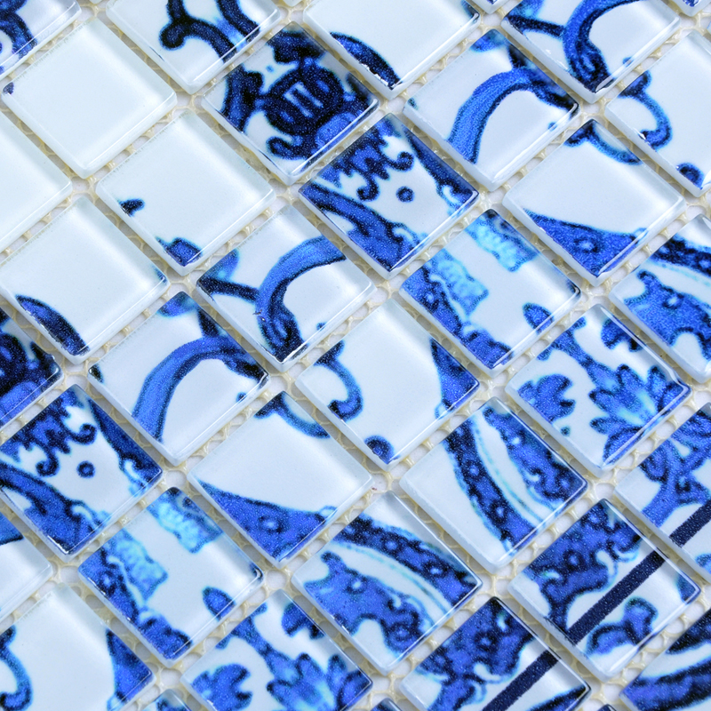 Crystal glass tile blue and white puzzle mosaic tile for Blue mosaic backsplash