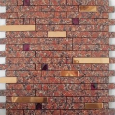 Adhsive Mosaic Tile Strip Stainless Steel Peel and Stick Diamond Crystal Glass Metal Wall Tiles MH-1599-1