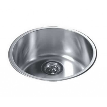 Round Kitchen Sink Top Mount Single Bowl 304 Stainless Steel 18 10 Chrome Nickel