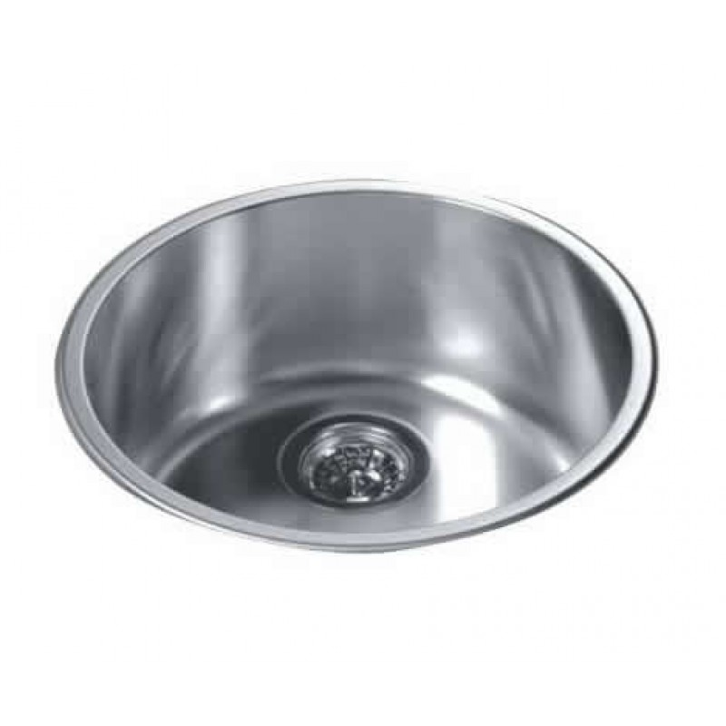 Gentil Round Kitchen Sink Top Mount Single Bowl 304 Stainless Steel, 18/10 Chrome  Nickel ...