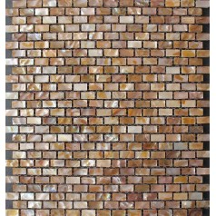 "Mother of Pearl Subway Tile Backsplash 3/8"" x 3/4"" Uniform Brick Iridescent Shell Mosaic with Base"