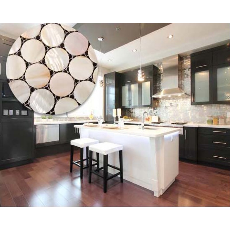 Penny Round Mother of Pearl Kitchen Backsplash