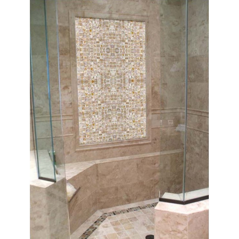 mother of pearl tile shower wall and floor backsplash