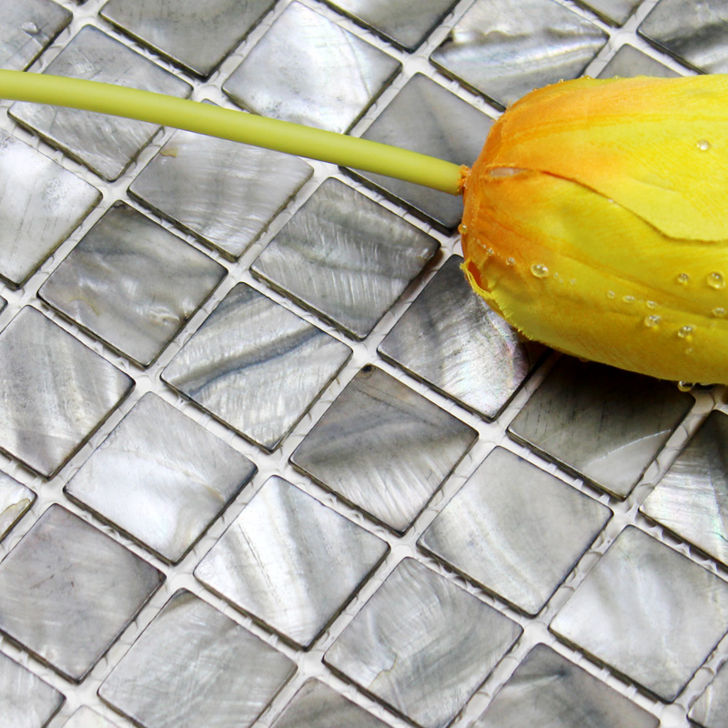Seashell Backsplash Tile: Shell Tiles 100% Grey Seashell Mosaic Mother Of Pearl