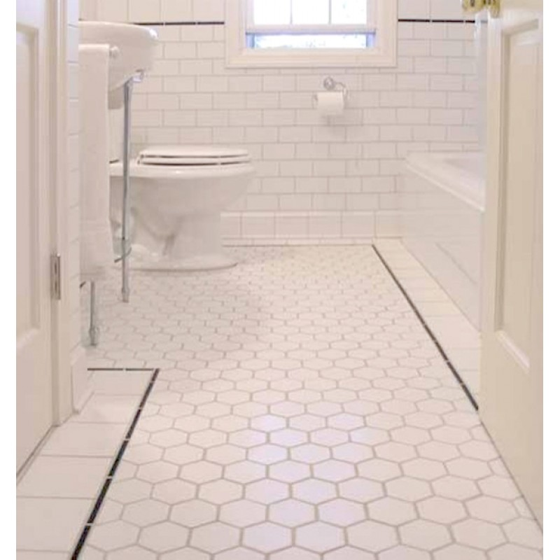 Hexagon Porcelain Tile White Matte Slip Resistant Washroom Shower Kitchen Xmgt9bt