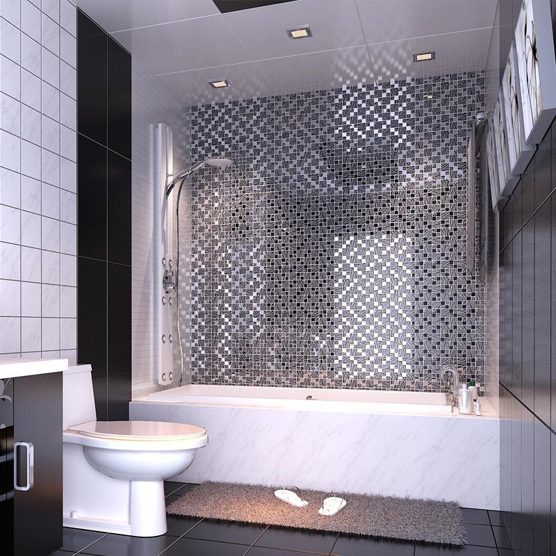 Black Art Hand Painted Design Glass Mosaic Tile Silver