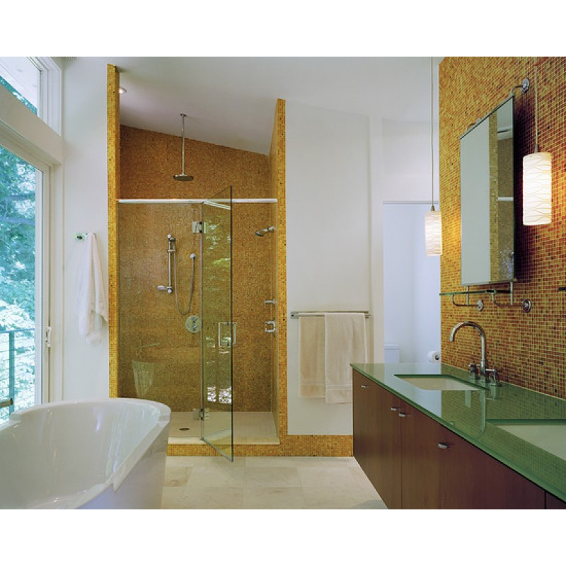 Crystal Glass Mosaic Gold Tiles Washroom Backsplash Design