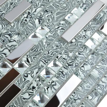 Glass and Stainless Steel Tile Silver Metal Backsplash Rhinestone Crystal Mosaic Wall Tiles