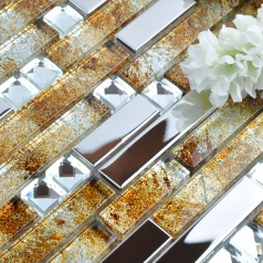 Silver Metal Diamond Glass Mosaic Stainless Steel Backsplash Clear Crystal Stick Gold Pattern GSD005