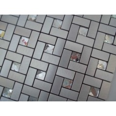 Adhesive Mosaic Tile Silver Brushed Aluminum Metal Glass Diamond Grid Patterns Peel and Stick Tiles Tile1530-125