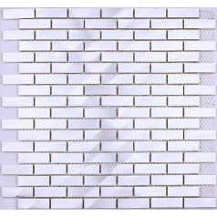 Metallic Mosaic Tile Silver Brushed Aluminum Metal Tiles Subway Wall Kitchen Backsplash YAAS-001