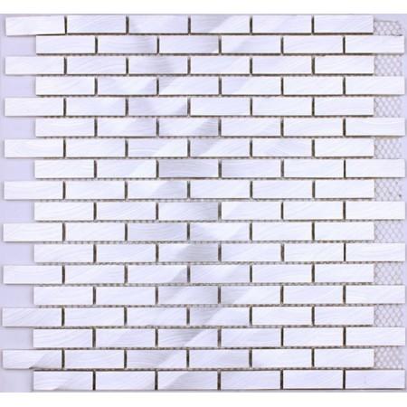 Metallic Mosaic Tile Silver Brushed Aluminum Metal Tiles Subway Wall Kitchen Backsplash YAAS-001