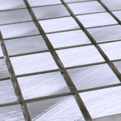 Metallic Mosaic Tile Silver Brushed Aluminum Metal Tiles Square Wall Kitchen Backsplash YAAS001