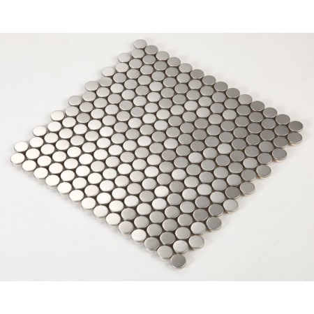 Stainless Steel Tile with Base Kitchen Backsplash Penny Round Metal Wall Tile Silver Mosaic Cheap Subway Tiles HC5