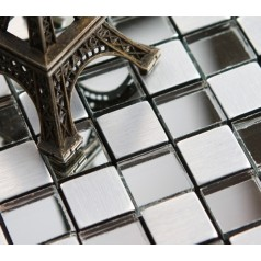 Adhsive Mosaic Tiles Silver Square Peel and Stick Tile Brushed Metal Wall Decoration Glass Mirror Tile 6119