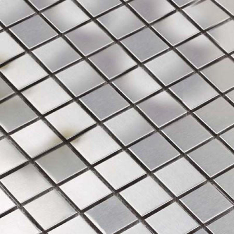 Metallic Mosaic Tile Silver Square Brushed Aluminum Panel Stainless Steel Metal Wall Decoration