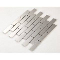 Stainless Steel Tile with Base Kitchen Backsplash Subway Metal Wall Tile Silver Mosaic Cheap Subway Tiles HC1