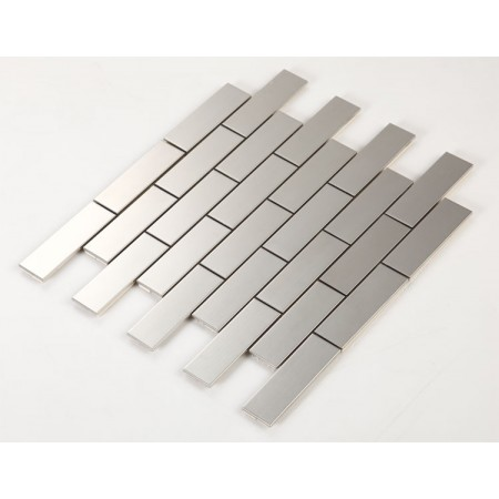 Stainless Steel Tile with Base Kitchen Backsplash Subway Metal Wall Tile Silver Mosaic Cheap Subway Tiles HC1