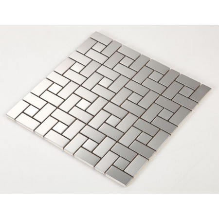 Stainless Steel Tile with Base Kitchen Backsplash Grid Metal Wall Tile Silver Mosaic Cheap Subway Tiles HC4