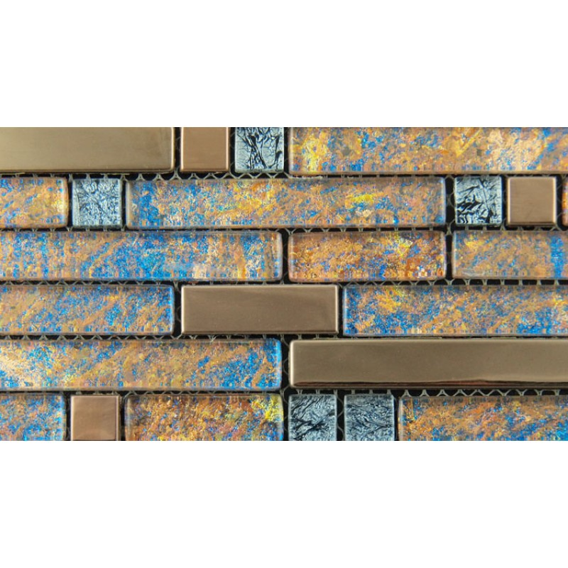 Metal and glass gold stainless steel backsplash wall tiles for Blue mosaic backsplash