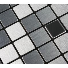 Adhsive Mosaic Tile Backsplash Square Brushed Metal Wall Decoration Dining Room Peel and Stick Tiles 6105
