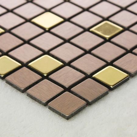 Adsive Mosaic Tile Backsplash Square Brushed Metal Wall Decoration Dining Room Peel and Stick Tiles 6108