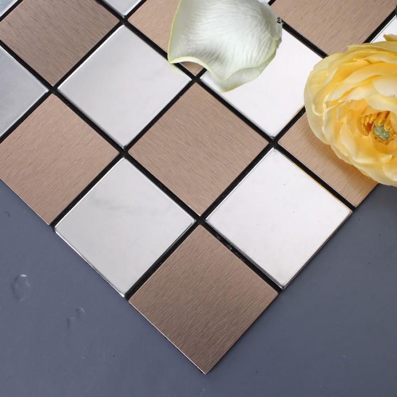Metal Tile Backsplash Kitchen Stainless Steel Tiles Square Metallic Mosaic Brushed Aluminum Panel