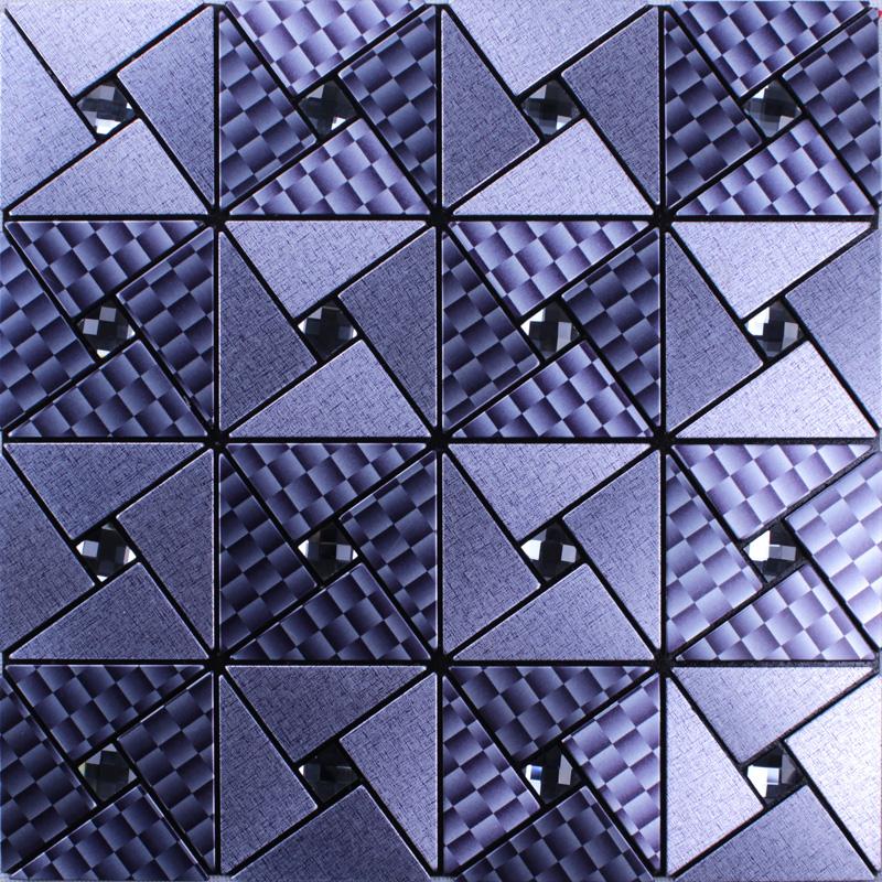 Metallic Mosaic Tile Grey Square Brushed Aluminum Panel