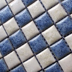 Porcelain Bathroom Wall Tile Design Square Blue and White Mosaic Tile Kitchen Backsplash Border