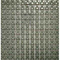 "Porcelain Mosaic Glossy Tile 3D Pinwheel Patterns 7/8"" Grey Bathroom Backsplash"