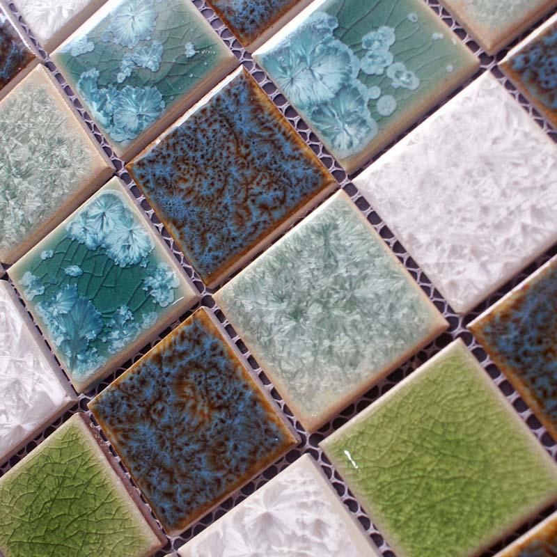 Porcelain Crackle Glass Mosaic Tile Brick