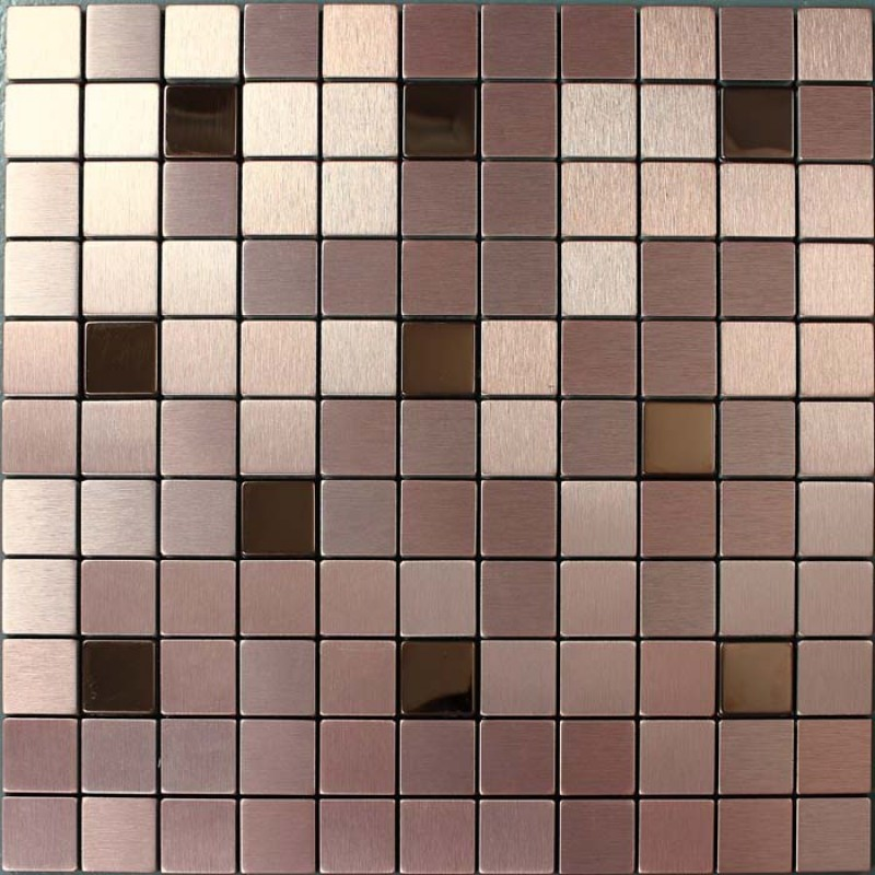 Metallic Mosaic Tile Cinnamon Square Brushed Aluminum