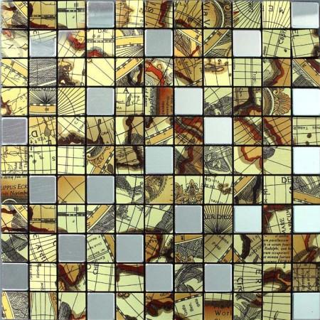 Metallic Mosaic Tile Globe Pattern Bathroom Decorative Metal Wall Aluminum Panel and Stainless Steel