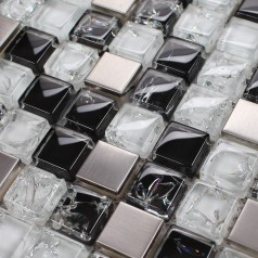 Crystal Mosaic Tile Kitchen Backsplash Brushed Stainless Steel with Base Crackle Glass Mosaic Bathroom Wall Tiles