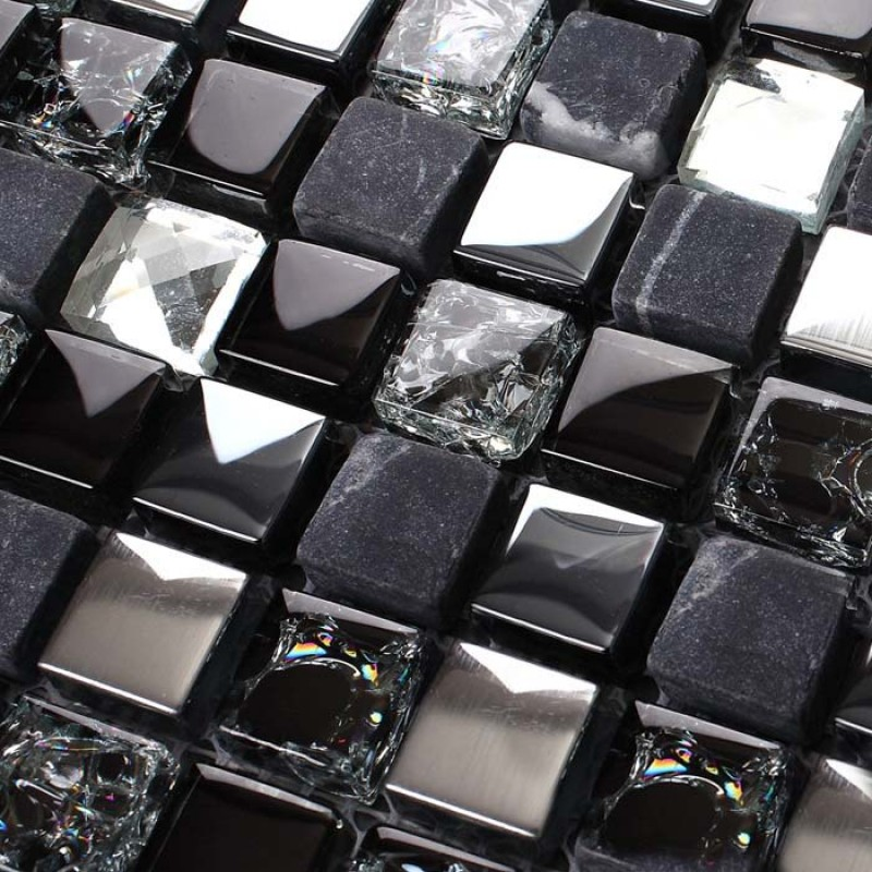 Black Glass Mosaic Diamond Gray Marble Plated Silver Blue Tile