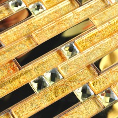 Gold Glass and Metal Mosaic Linear Wall Tiles Glossy Stainless Steel Backsplash Tile