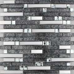 Brown Glass and Stainless Steel Mosaic Wall Tile Backsplash Silver Metal Diamond Crystal Tiles