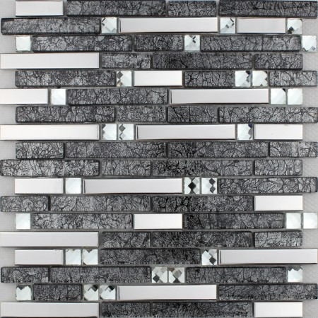 Brown Glass and Stainless Steel Mosaic Wall Tile Backsplash Silver Metal Diamond Crystal Tiles