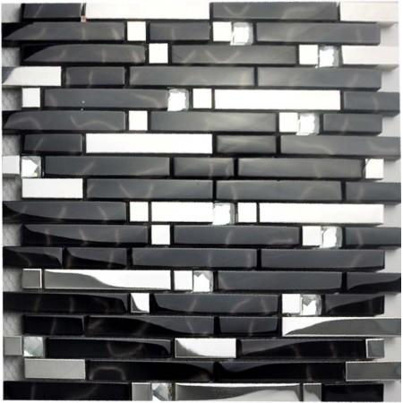 Metallic Backsplash Tiles Silver Stainless Steel Metal and Glass Mosaic Diamond Crystal Tile MSG233