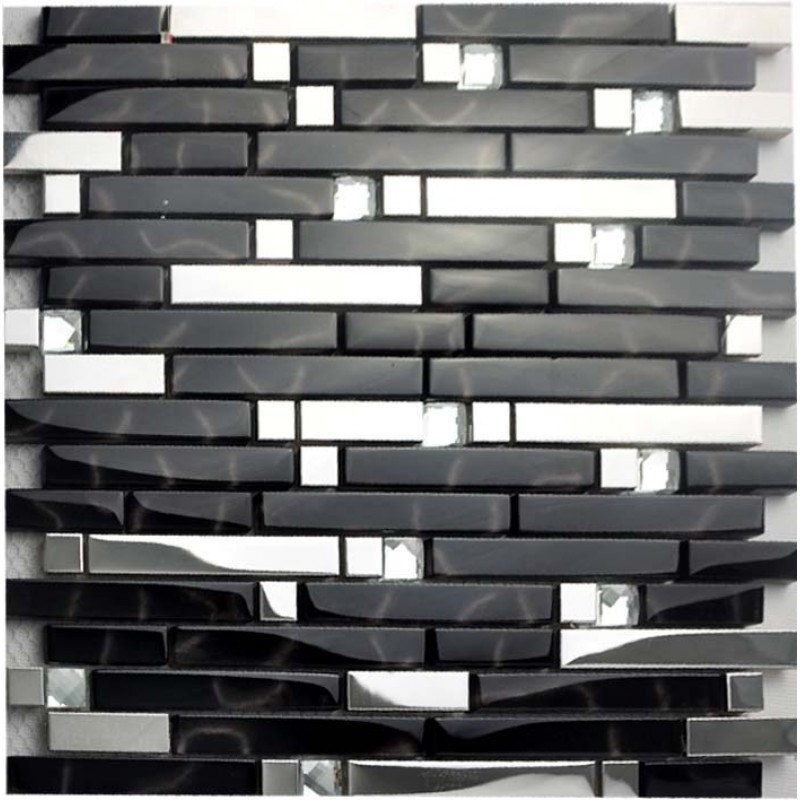 Metallic backsplash tiles silver stainless steel metal glass mosaics Backsplash mosaic tile