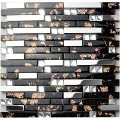Metal Backsplash Tiles Silver Stainless Steel Sheets Metal and Crystal Glass Blend Diamond Tile 2-59