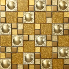 Metal Backsplash Tiles Stainless Steel Backsplash Gold Crystal Glass Mosaic Wall Decor 621