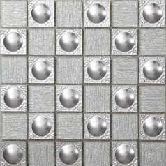 Metal Backsplash Tiles Stainless Steel Backsplash Silver Crystal Glass Mosaic Wall Decor 627