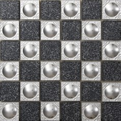 Metal Backsplash Tiles Stainless Steel Backsplash Crystal Glass Mosaic Wall Decor Tile 628
