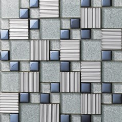 Metal Backsplash Tiles Silver Stainless Steel Sheets and Crystal Glass Blend Mosaic Wall Decor 633