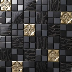 Metal Backsplash Tiles Stainless Steel Sheet and Crystal Glass Blend Mosaic Wall Decor 636